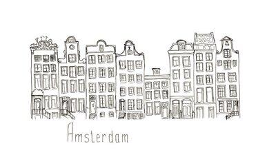 Плакат Эскиз Нидерланды Амстердам дома изолированные надписи