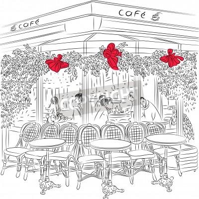 Плакат эскиз парижском кафе с рождественские украшения