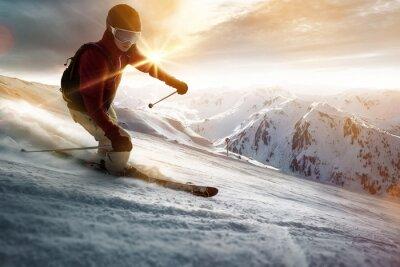 Плакат Лыжник в условиях заката