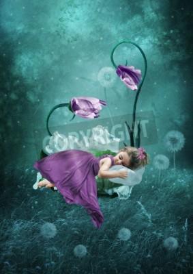Плакат Спящая маленькая девочка в волшебный лес