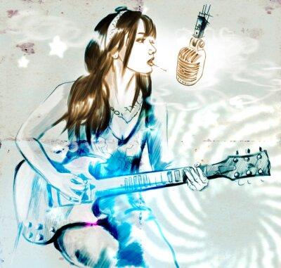 Плакат Курение. Гитарист. Рисованной полноразмерный рисунок.