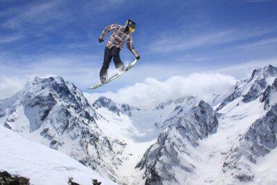 Плакат Сноуборд прыжок на горы. Экстремальный вид спорта.