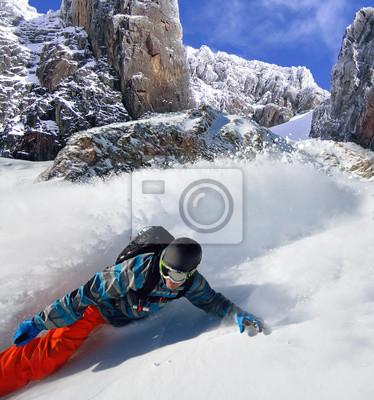 Плакат Сноубордист безбилетника на горы