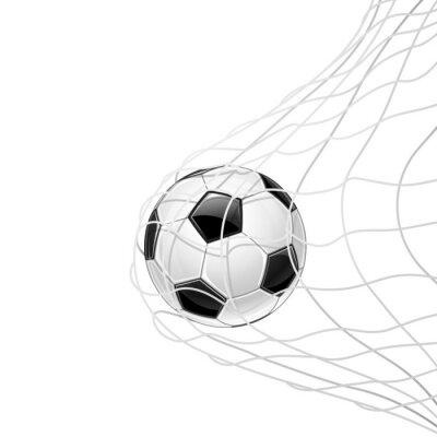 Плакат Футбольный мяч в сетке изолированы. Вектор