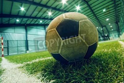 Плакат футбольный мяч на зеленой траве в помещении детской площадке