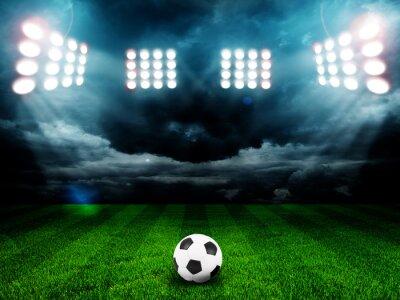 Плакат Футбольный мяч на поле стадиона с учетом