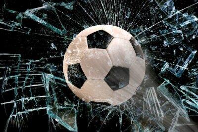 Плакат Футбольный мяч через стекло.