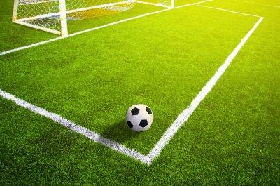 Плакат Футбол травой поле с разметкой и мяч, Спорт