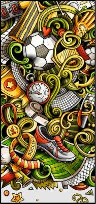 Плакат Soccer hand drawn doodle banner. Cartoon detailed illustrations.