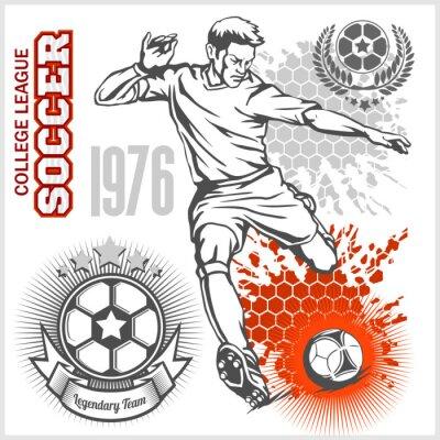 Плакат Футболист ногами мяч и футбольные эмблемы.