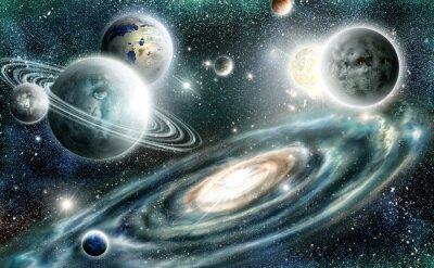 Плакат Солнечная система и спиральная галактика
