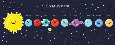 Плакат Солнечная система с милой улыбкой планет, Солнца и Луны.
