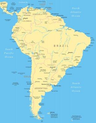 Плакат Южная Америка карта - очень подробные векторные иллюстрации.