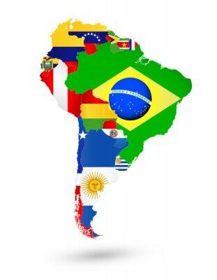Плакат Южная Америка Карта с флагами и местоположением на карте мира