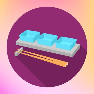 Плакат соевый соус соусник и палочки для еды с плоской вектора знака. Соусник Тарелка с Chopstick для сервировки японской еды.