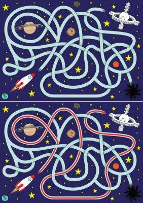 Плакат Космическая ракета лабиринт