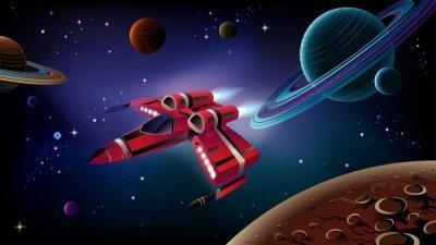 Плакат Космический корабль, планеты и пространство.