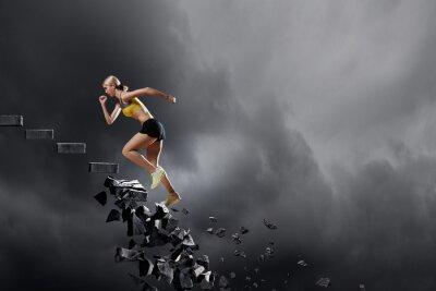 Плакат Спорт женщина преодоления проблемы
