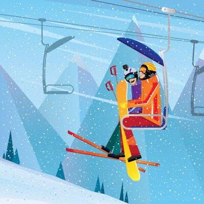Плакат Спортсмены подняться на гору на авиационную лифте