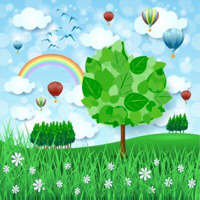 Плакат Весенний фон с большим деревом и воздушными шарами