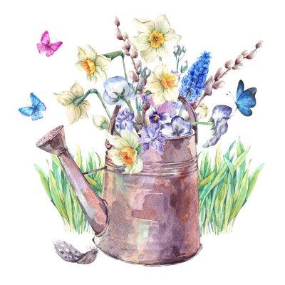Плакат Весенний букет с нарциссы, анютины глазки, мускари и бабочками