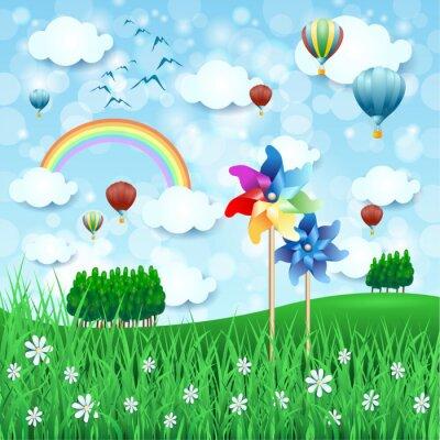 Плакат Весенний пейзаж с штифтами и воздушными шарами