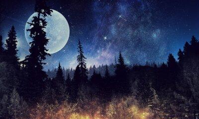 Плакат Звездное небо и луна. Смешанная среда