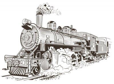 Плакат паровоз иллюстрации в стиле винтаж