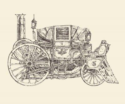 Плакат Стимпанк перевозки, гравировка в стиле, векторные иллюстрации