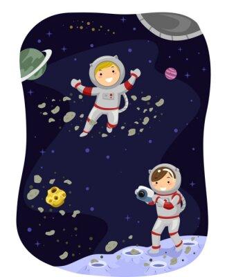 Плакат Stickman Дети космического пространства Фото