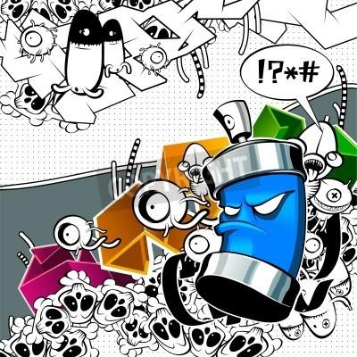 Плакат Strange graffiti image with can
