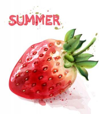 Плакат Strawberry isolated Vector watercolor. Fresh fruit summer seasonal cards