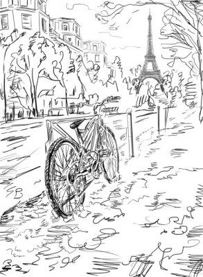 Плакат Улица в осенний Париж. Эйфелева башня -sketch иллюстрация