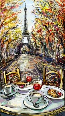 Плакат Улица в осеннем Париже. Эйфелева башня -sketch иллюстрация
