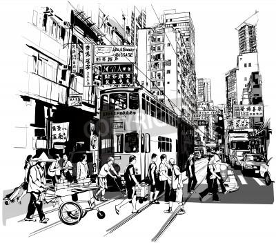 Плакат Улица в Гонконге - Векторная иллюстрация (все китайские иероглифы являются вымышленными)