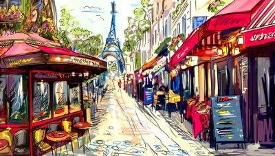 Плакат Улица в Париже - иллюстрация