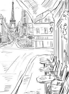 Плакат Улица в париже-эскиз иллюстрации