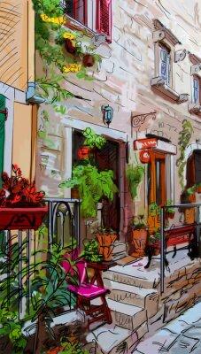 Плакат Улица в Риме - иллюстрация