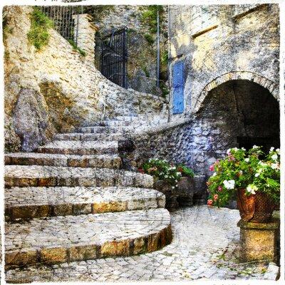 Плакат Улицы старого итальянского villages- Casperia, художественная фотография