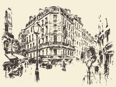 Плакат Улицы Париж Франция старинные иллюстрации обращено