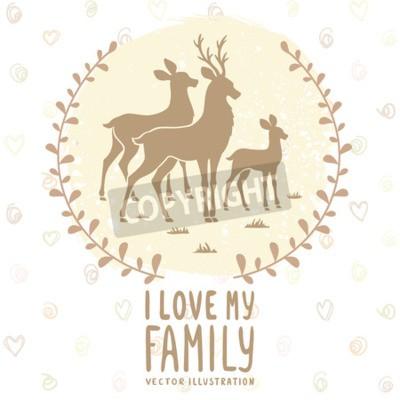Плакат Стильная открытка с силуэтом красивых оленей семьи. Векторные иллюстрации