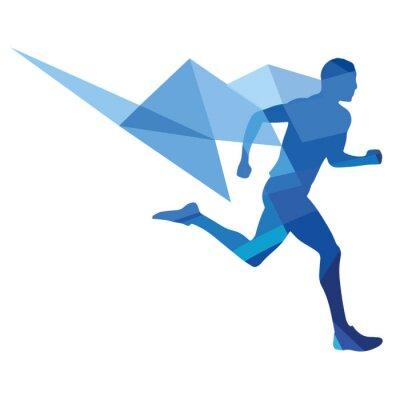 Плакат Стилизованный бегун, геометрический узор