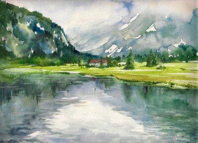Плакат Летний пейзаж с горного озера окрашены акварелей