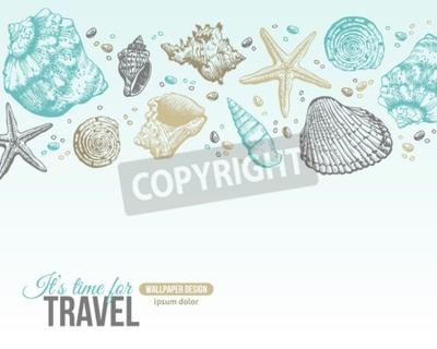 Плакат Лето Sea Shells Открытка Дизайн. Вектор фон с ракушками, Sea Star и песок. Рисованной Травление стиль. Место для вашего текста.