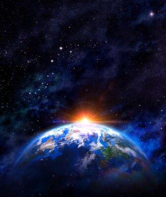 Плакат Восход солнца над землей в космическом пространстве
