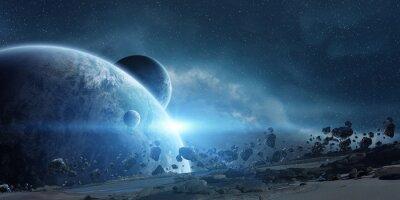 Плакат Восход солнца над планете Земля в космосе