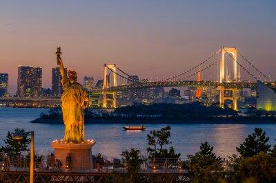 Плакат Закат и радужный мост в Одайба, Токио