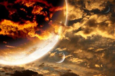 Плакат Закат в штормовую небе и чужой планете