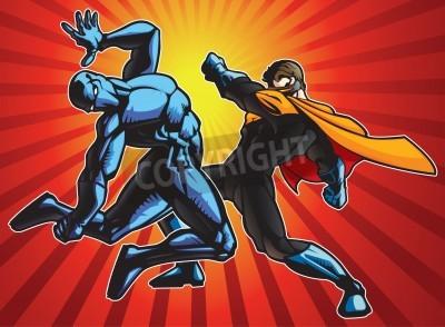 Плакат Super hero and a ninja doing battle.
