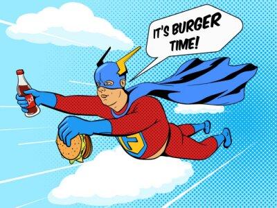 Плакат Супергерой толстяк и гамбургер комиксов вектор